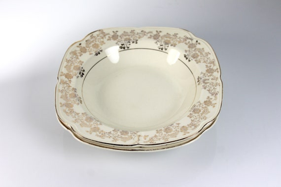 Square Rimmed Soup Bowls, Edwin Knowles, Set of 2, 22K Gold Floral Scrolls, Fine China