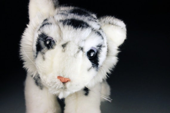 Stuffed Animal, White Bengal Tiger, SOS Save Our Space, Black and White, Fluffy, Soft, Tiger Kitten, Shower Gift, Nursery Decor