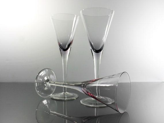 Amethyst Champagne Flutes, Set of 3, Stemware, Barware, Wine Glasses