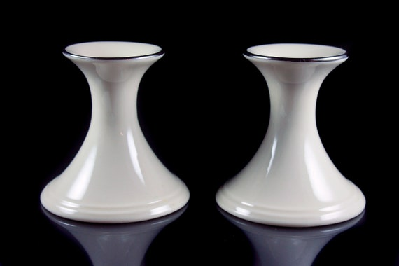 Lenox, Classic Candlesticks, Candle Holders, Special, Platinum Trim, Set of 2, Candles Included