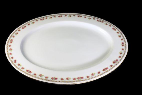 14 Inch Oval Platter, Eamag Bavaria, White, Pink Floral, Serving Platter