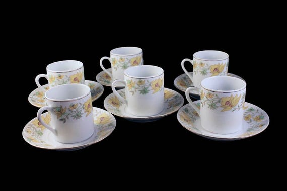 Demitasse Cups and Saucers, Yellow Floral, Espresso Cups, Set of 6, Made with China, Coffee, Hot Chocolate, Tea