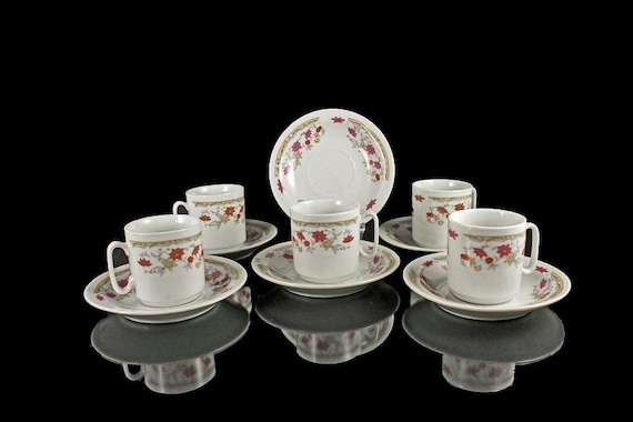 Demitasse Cups and Saucers Set of 6