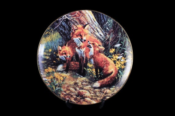 1991 Collectors Plate, The Danbury Mint, Fox Talk, Fox Plate, Limited Edition, Decorative Plate, Wall Decor, New In Box
