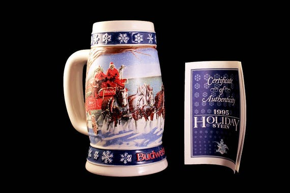 1995 Budweiser Holiday Stein, Lighting The Way Home, Beer Stein, Christmas Stein, Collectible, Anheuser-Busch Stein