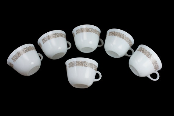 Pyrex Coffee Cups, Woodland, Teacups, Set of 6, Milk Glass, Brown Floral