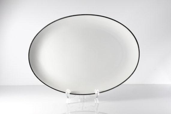 Harmony House Moderne Platter, Oval, Platinum Trim, Fine China, White