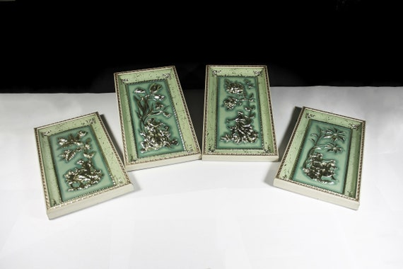 Metalcraft Four Seasons Wall Hanging, Set of Four, Green and Gold, Shadow Boxes, Wall Art