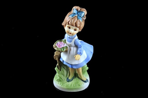 Girl Figurine, Made in Taiwan, Girl Statue, Girl with Basket