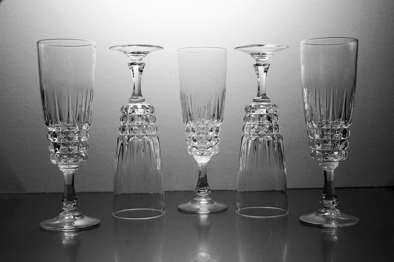 Crystal Champagne Glasses, Cristal D'Arques-Durand, Pompadour, Set of 5,  Discontinued, Barware, Toasting Glasses