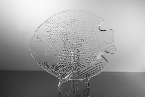 Arcoroc Poisson Fish Plate, Clear Glass, Fish Shaped Platter