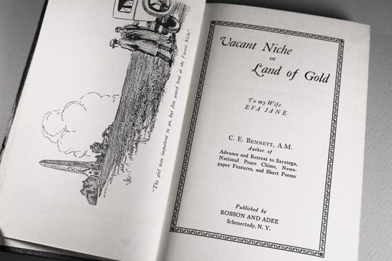 1928 Hardcover Book, Vacant Niche or Land of Gold, C. E. Bennett, Signed First Edition, Literature, Revolutionary War