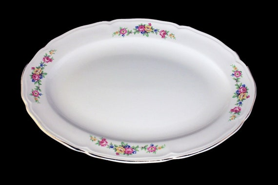 Oval Platter, Edwin Knowles, 22K Gold Trimmed, White, Floral Pattern, Fine China