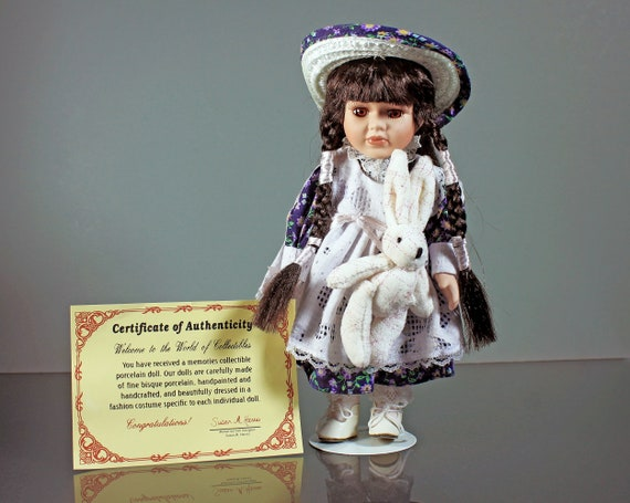 Porcelain Doll with Bunny, New Concepts, 10 Inch, Stand Included, Collectible, Display Doll, Art Doll