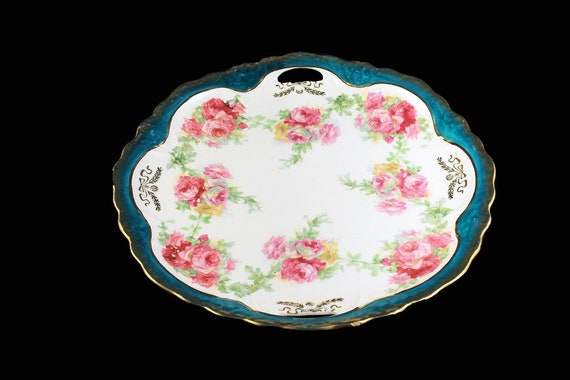 Antique Cake Plate, Three Crown China, Germany, Pink Roses, Gold Trimmed,  circa. 1909 -  1916, Green and White, Display Plate