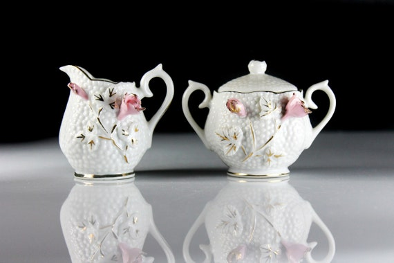 Miniature Sugar and Creamer, Raised Floral, Decorative, Display, Collectible