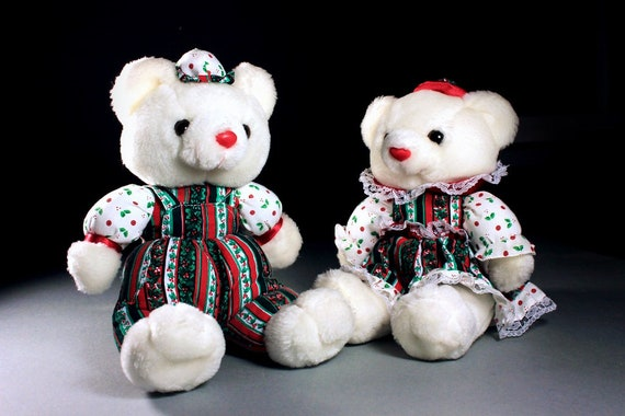 Pair of Christmas Bears, Boy and Girl Bears, Holiday Bears, Stuffed Animals, Collectible, Display Bears, Plushie Bears, Set of 2