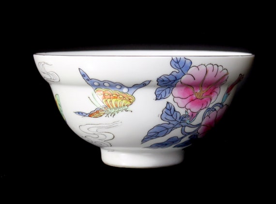 Chinese Rice Bowl, Footed, Butterfly Floral, 6 Inch, Serving Bowl