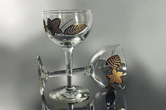 Liquor Cocktail Glasses, Libbey Rock Sharpe, Gold Leaves Pattern, Cocktail Stemware, Set of 2