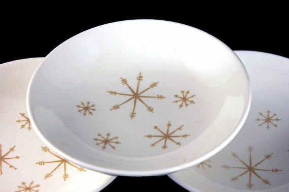 Dessert Bowls, Royal China (USA), Crystal Pattern, Gold Star Design, White and Gold, Fruit Bowls, Set of 3