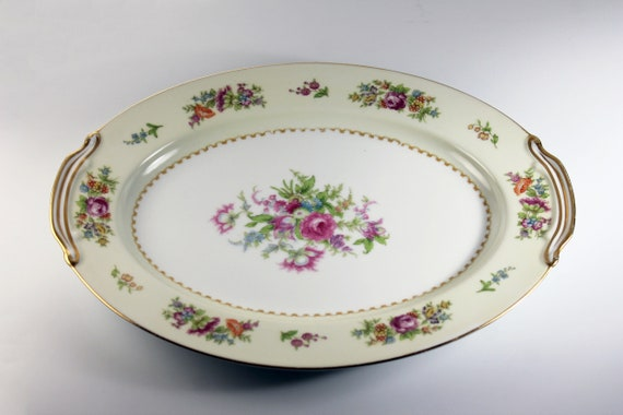 Noritake China Oval Platter, Empire, Occupied Japan, Floral Pattern, 12 Inch, Multi-floral, Gold Trim