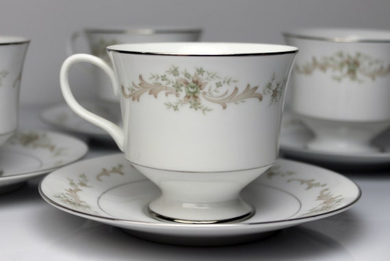 Cups and Saucers, Sango China, Carousel, Set of 4, Fine China, Platinum Trim, Teacups, Dinnerware