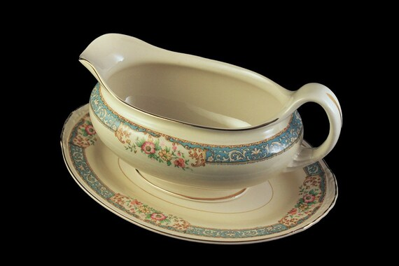 Gravy Boat, Homer Laughlin, Blue Dawn, Eggshell Nautilus, Underplate, Blue Border, Floral Pattern, Fine China