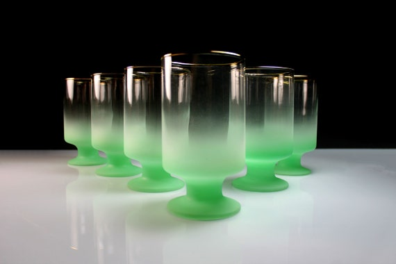 Blendo Footed Glasses, West Virginia Glass Specialty, Set of 6, Green Frosted Glassware, 12 Ounce