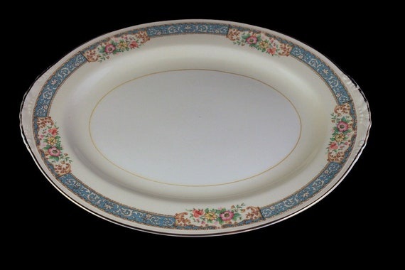11 Inch Oval Platter, Homer Laughlin, Blue Dawn, Eggshell Nautilus, Blue Border, Floral Pattern, Fine China