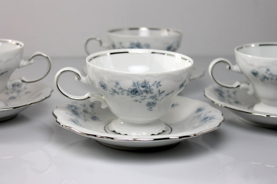 Cups and Saucers, Johann Haviland, Blue Garland, Bavarian Backstamp, Floral Pattern, Set of Four, Fine China, Discontinued