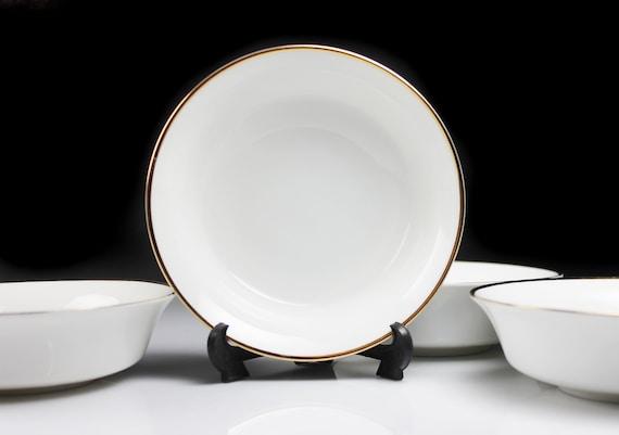 Johann Haviland Fruit Bowls, Bavaria, Golden Band, White and Gold, Set of 4, Fine China