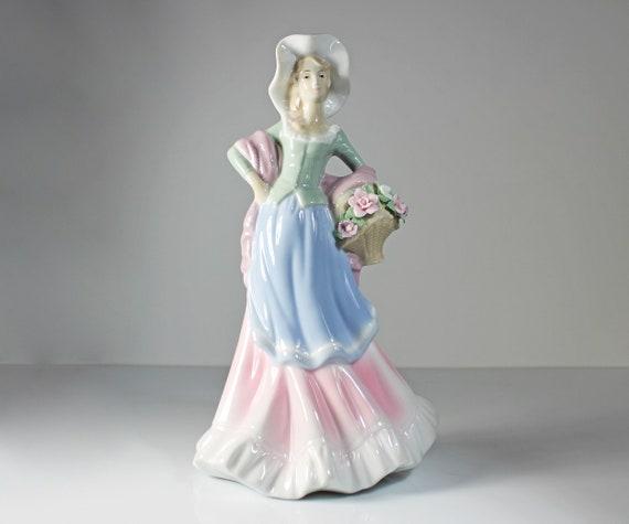 Lenwile Ardalt Figurine, Woman With Basket, Raised Flowers, Porcelain, High Gloss