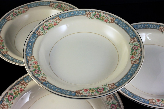 Rim Soup Bowls, Homer Laughlin, Blue Dawn, Eggshell Nautilus, Set of 4, Blue Border, Floral Pattern, Fine China