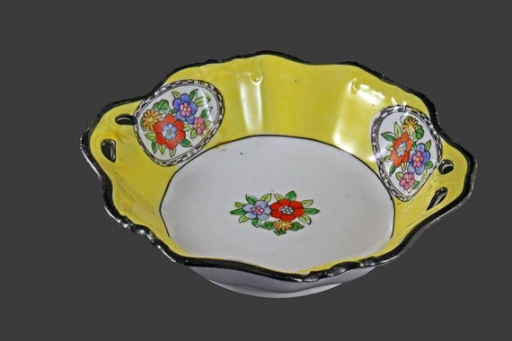 Noritake Handled Bowl, Hand Painted, Noritake China, Made In Japan, Yellow and White