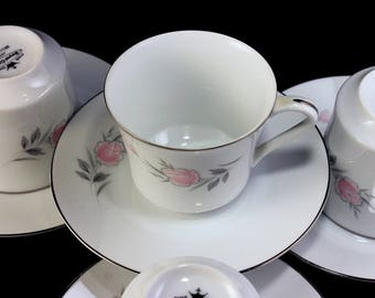 Cups and Saucers, Royal Court, Belle Rose, Pink Rose and Bud, Set of 4, Fine China