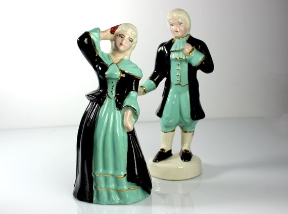 Man and Woman Colonial Figurines, Matched Set, Porcelain, Green and Black