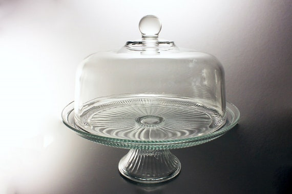 Covered Domed Cake Stand, Anchor Hocking, Annapolis, Panels and Ribs Pattern, Clear Pressed Glass, Punch Bowl, Dessert Stand