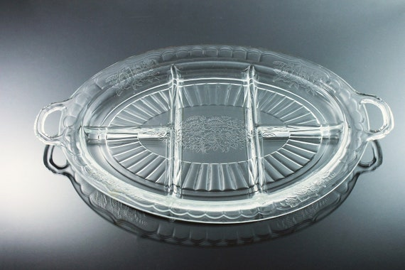 Divided Relish Dish, Anchor Hocking, Open Rose, Clear Depression Glass, Relish Tray