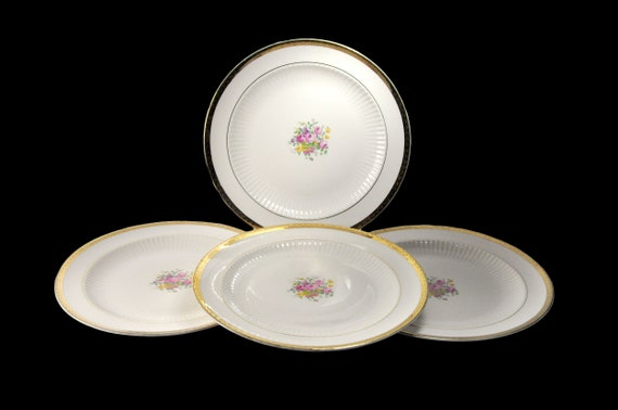Royal USA Luncheon Plates, Floral Center, 22K Gold Trim, Fine China, Ribbed, Set of 4