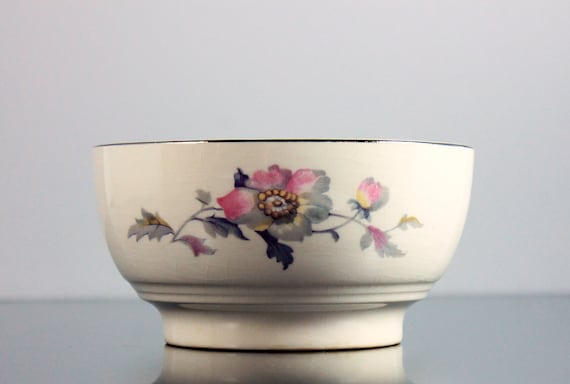 Rice Bowl, Symphony by Salem, Platinum Gold, Floral Pattern, Noodle Bowl, Pasta Bowl
