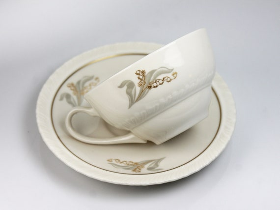 Cups and Saucer, Hanover China, Enchantment, Lily of the Valley, Fine China, Discontinued, Teacup