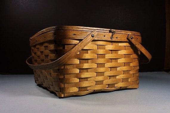 Pie Taker Basket, Picnic Basket, West Rindge Baskets, Woven Wood, Picnic Hampers