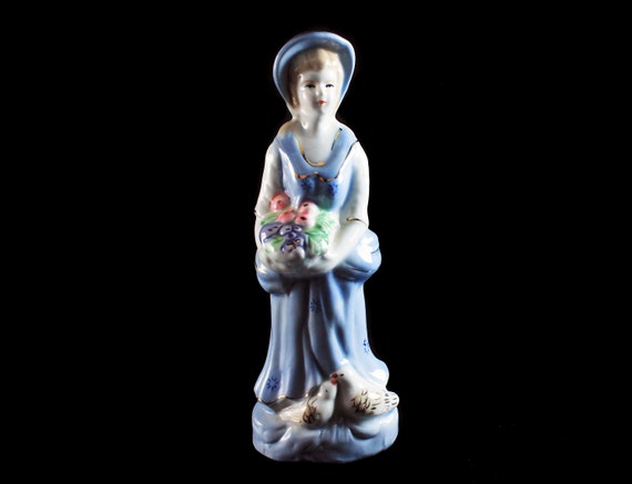Porcelain Figurine, Girl With Flowers and Birds, Blue and White, Gold Trimmed, Long Blue Dress