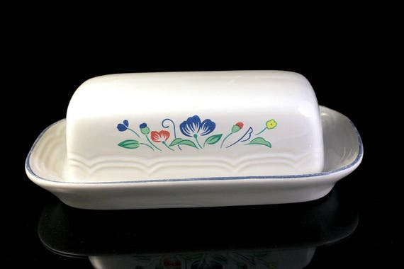 Butter Dish, Floral Expressions, Hearthside, Stoneware, Quarter Pound, Lidded Butter Dish