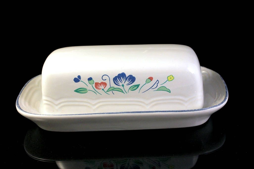 Butter Dish, Floral Expressions, Hearthside, Stoneware, Quarter ...
