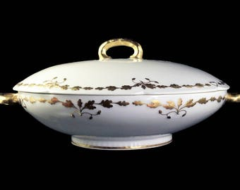 Antique Covered Vegetable Bowl, Old Abbey, Limoges France, Latrille Freres, Raised Gold, Hand Painted, Rare, Hard to Find