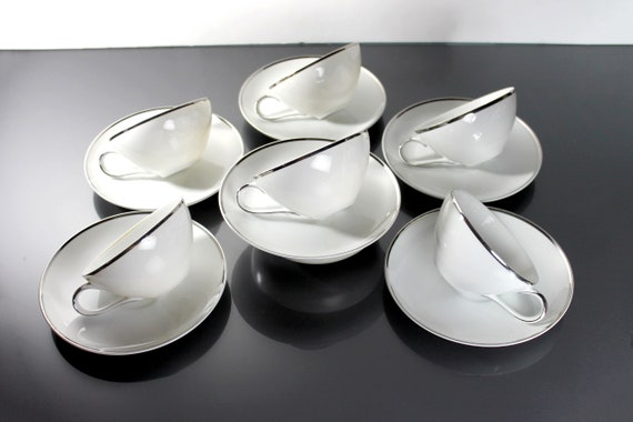 Cups and Saucers, Harmony House, Moderne, Platinum Trim, Set of 6, Fine China, White