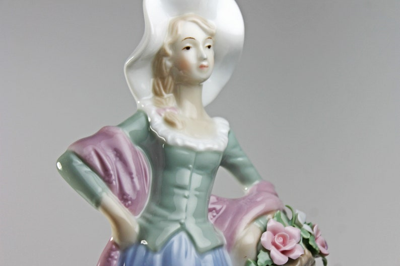 Woman With Basket High Gloss Raised Flowers Porcelain Lenwile Ardalt Figurine