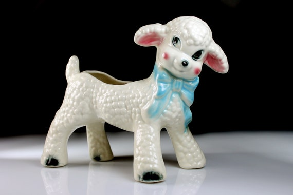 Lamb Planter, White, Figurine, Nursery Decor, Hand Painted Porcelain, Collectible