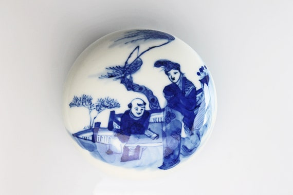 Antique Chinese Pill Box, Kangxi Period, Qing Dynasty, Blue and White Porcelain, Trinket Box, Early 20th Century, Collectible, Round